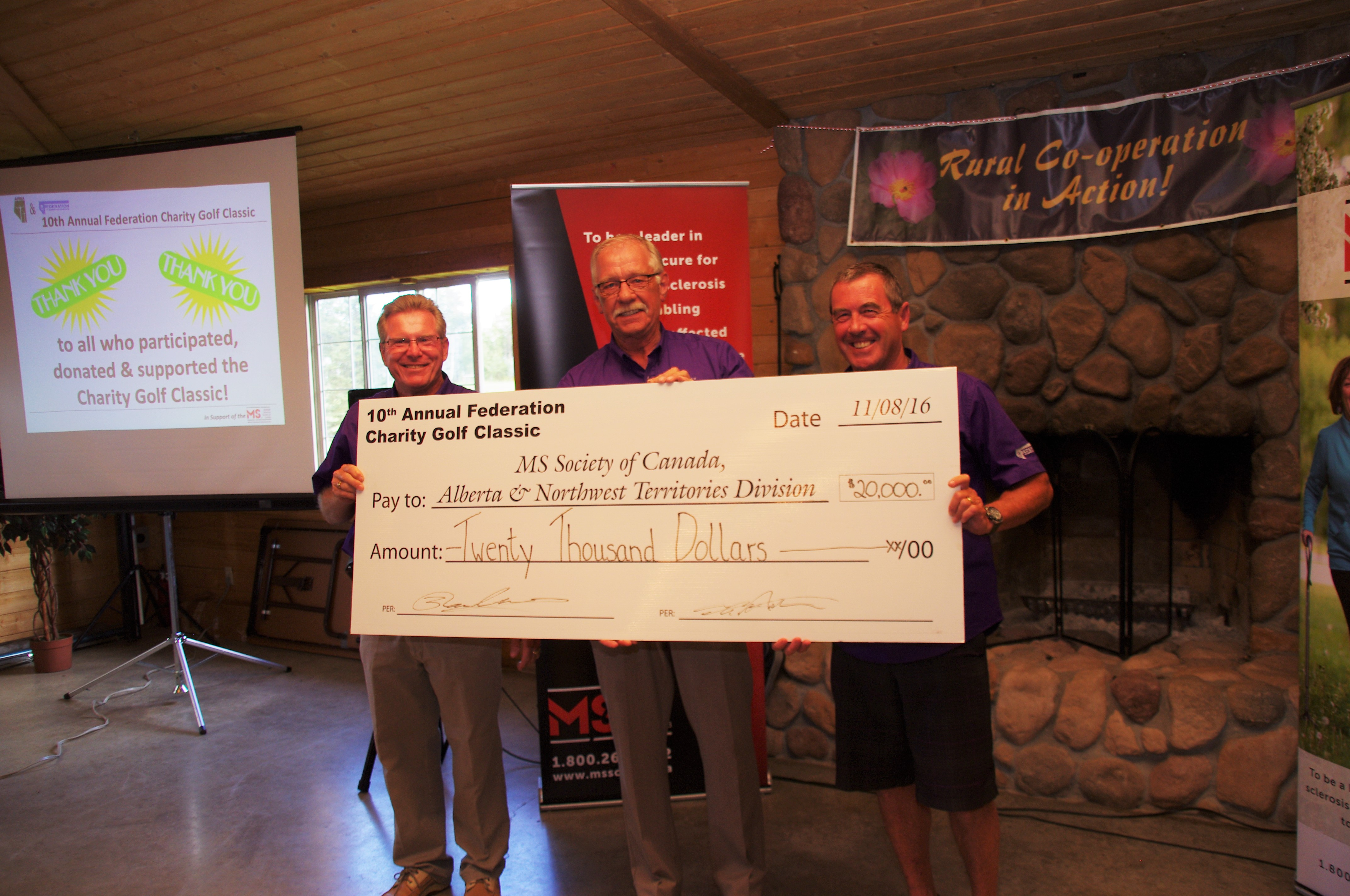 Cheque presentation at 10th AnnualFederation Charity Golf Classic