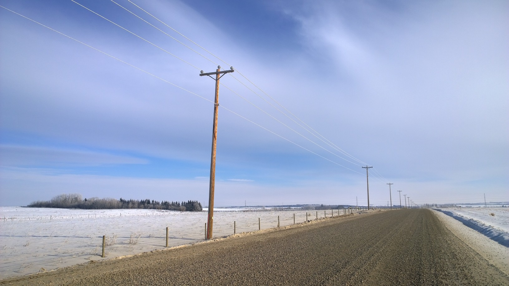 Rural road and power lines